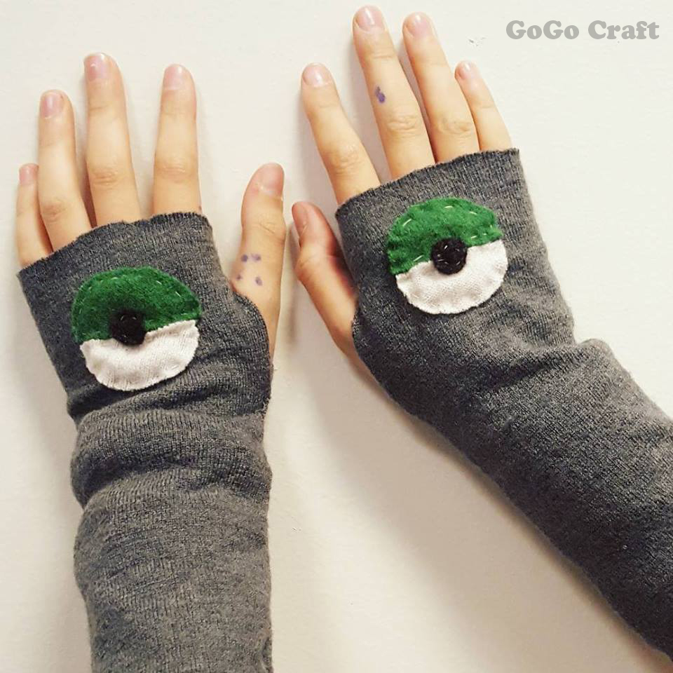 Fingerless Gloves with Pokemon Logo