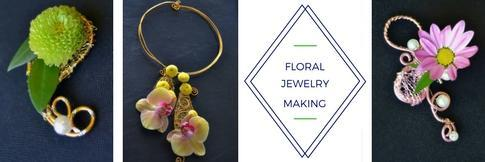 Examples of handmade floral jewelry with Shinta Arifin's logo