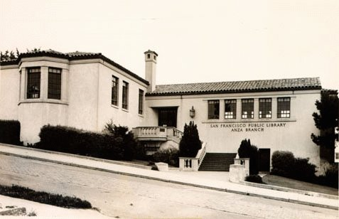 Exterior of Anza Branch Library in 1945
