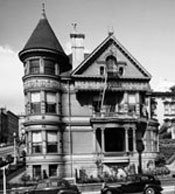 Photograph of house at California and Franklin Streets, 1957.