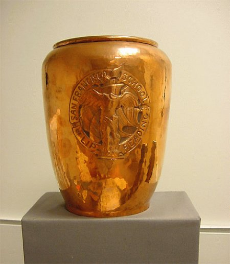 Arts and Crafts copper vase created by Dirk Van Erp