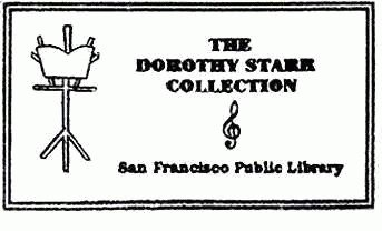 Dorothy Starr Collection stamp with Starr's The Music Stand logo.
