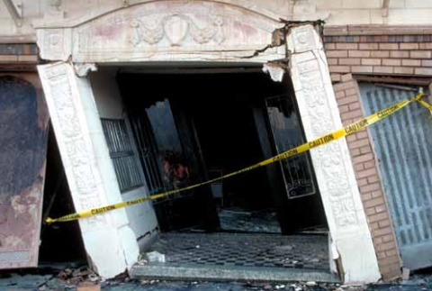 Entrance to Beach Street apartment complex in ruins after earthquake