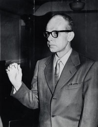 Harry Hay taking oath at HUAC Hearing