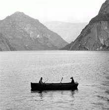 Image of small boat on a lake from the SF Public Utilities Commission Collection