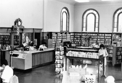 An interior view of the Presidio Branch in 1970