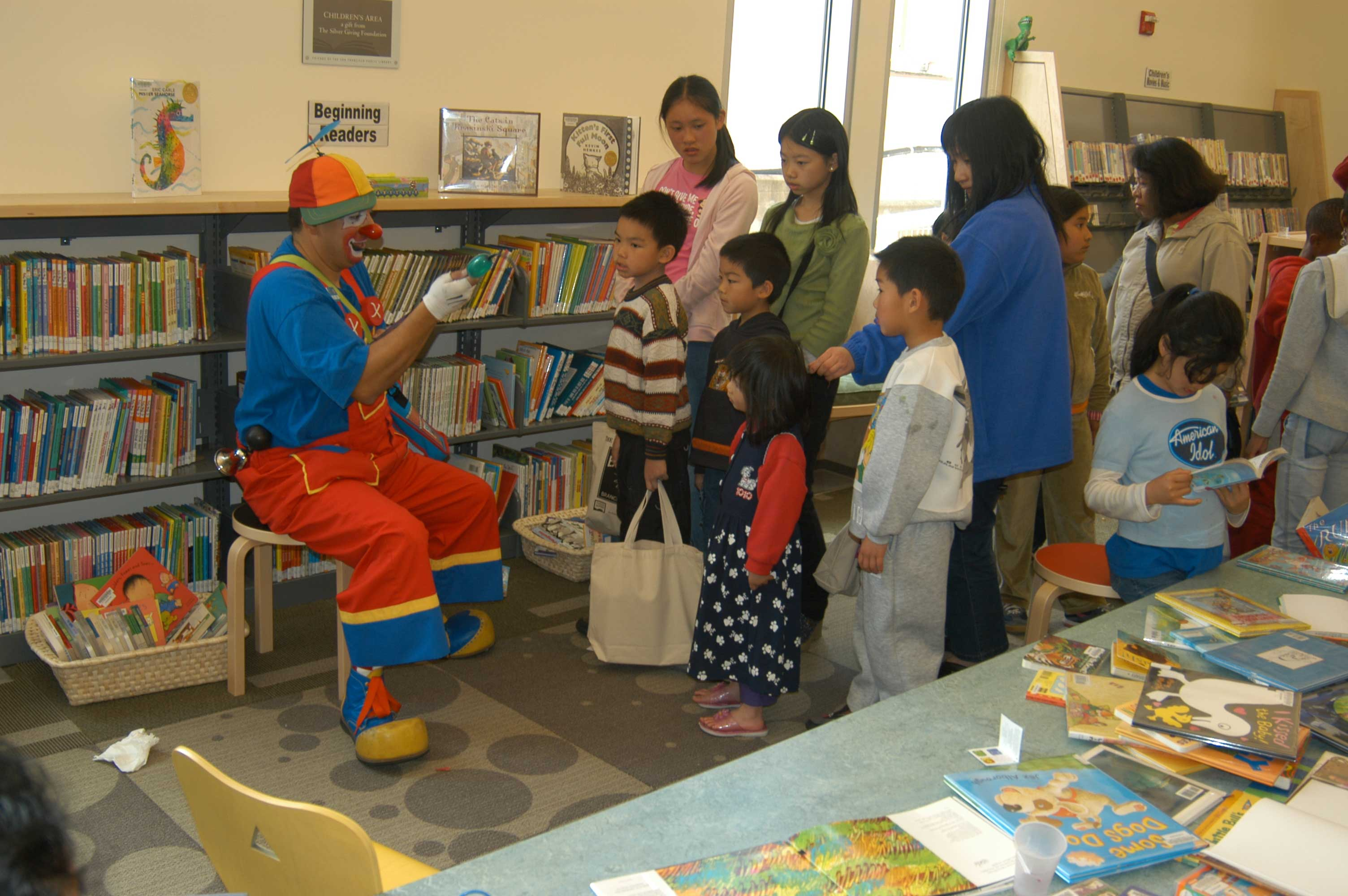 Clown entertains children