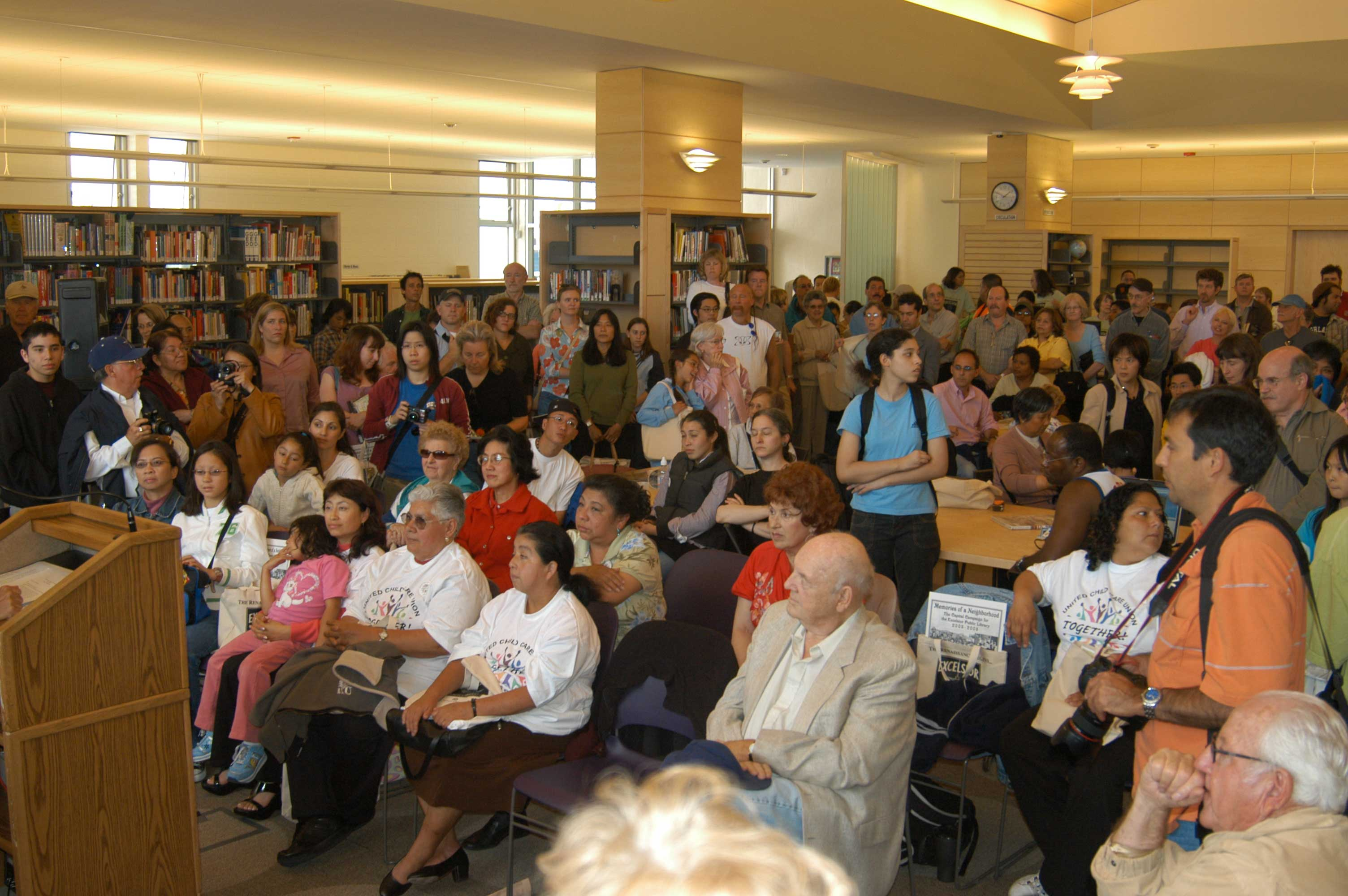 Crowd inside the Excelsior Branch