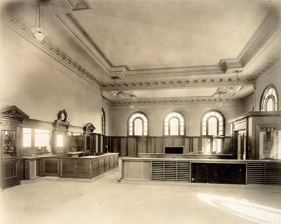Sunset Branch Libary interior prior to opening in 1918