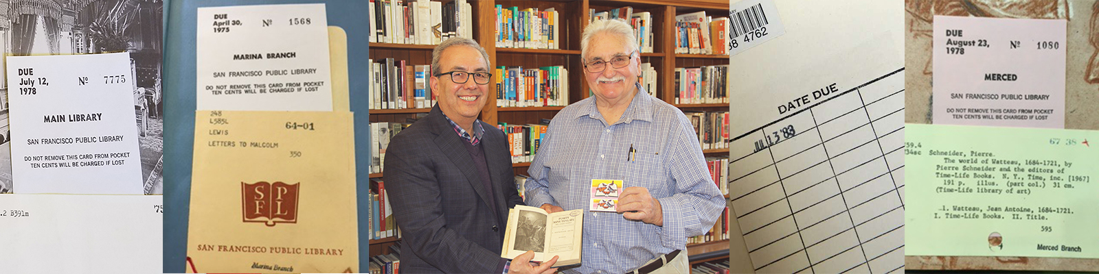 City Librarian Luis Herrera with Webb Johnson during the return of a 100 year past due book.