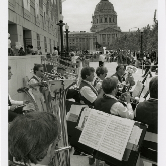 Band playing outside Main Library, 1996