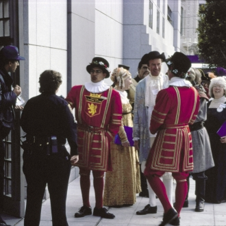 Storybook characters waiting to enter Main Library, 1996
