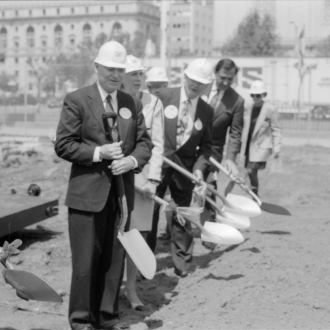 Groundbreaking ceremony for Main Library, 1992