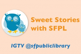 Blue storytime owl and @sfpubliclibrary social media handle