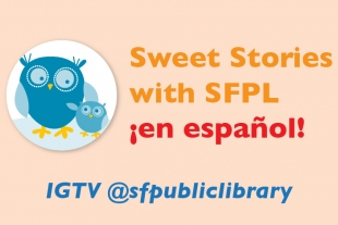 Blue storytime owl and @sfpubliclibrary Instagram handle
