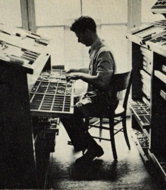 Robert Grabhorn setting type, 1936