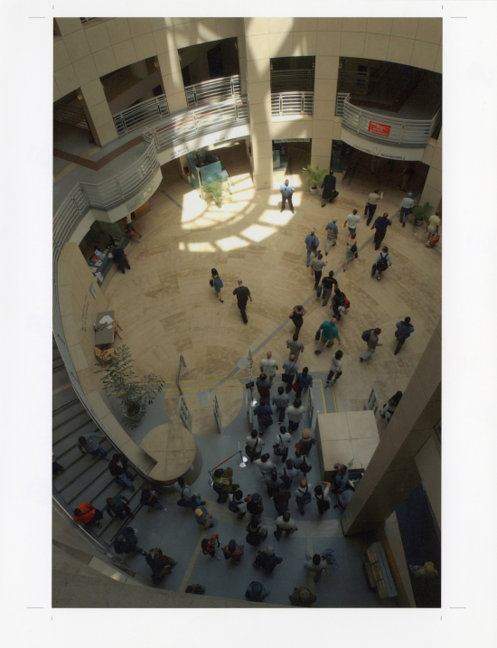 People in the Main Library atrium, 1996