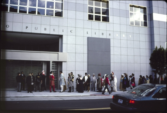 Storybook characters waiting to enter the Main Library, 1996