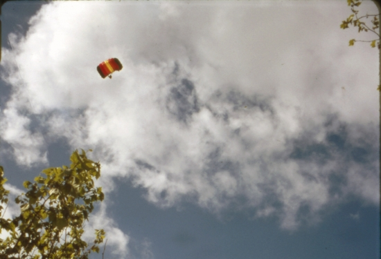 Parachutist on Opening Day of New Main Library, 1996
