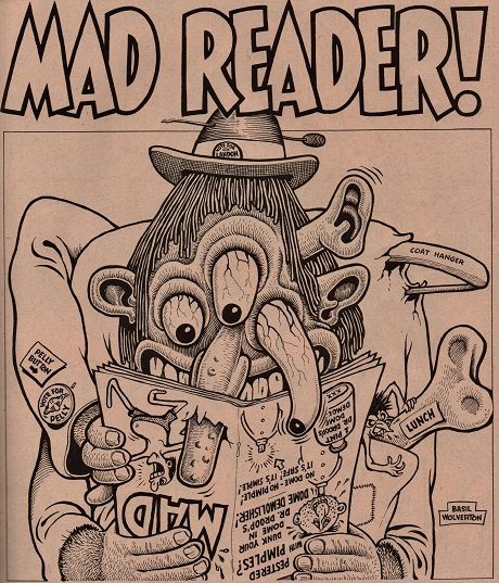 Image of a very strange character reading an issue of Mad Magazine, art by Basel Wolverton