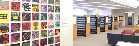 Picture description: View of the Library for the Blind and Print Disabled featuring View of the Library for the Blind and Print Disabled featuring <cite>Squared</cite> artwork by Maia Scott.