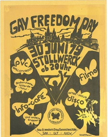 Gay Freedom Day poster in English and German