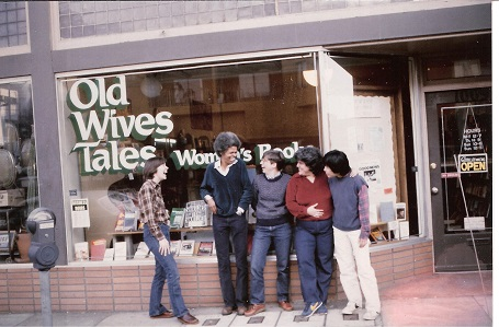 Old Wives Tales Collective group photo in front of bookstore