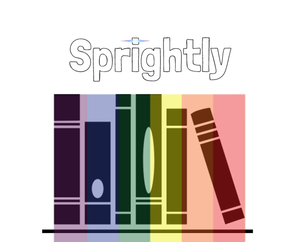 Sprightly Logo: A rainbow with books