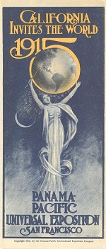 California Invites the World 1915 pamphlet image of woman holding up the earth