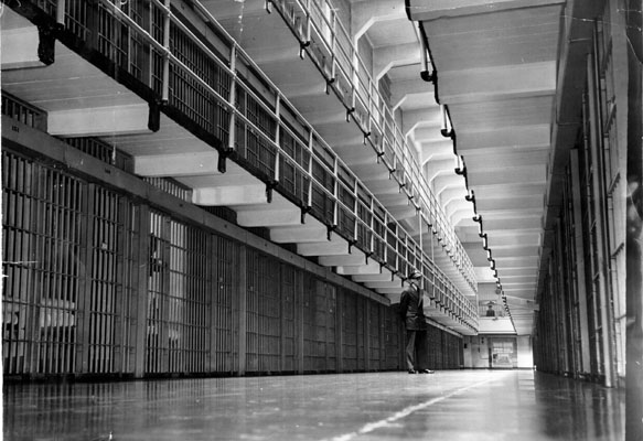 Alcatraz Island prison guard on duty in main cell block